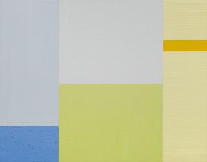 Lemon Sea, 1999, oil, enamel, sand on wood panel, 22 x 28 in