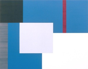 Dawn II, 1999, enamel, oil, and sand on wood panel, 22 x 28 in