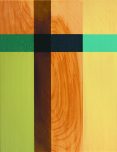 Southern Cyclone, 2005,  oil enamel, varnish, and sand on birch panel, 18 x 14 in