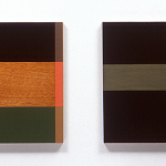 In and To, 2000, oil enamel, varnish, and sand on mahogany panel, 20 x 30 in each