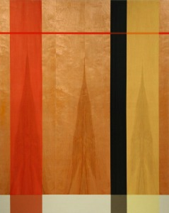 Flame, 2007, oil enamel, varnish, and sand on birch panel, 60 x 48 in,