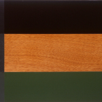 In, 2000, oil enamel, varnish, and sand on mahogany panel, 20 x 30 in,