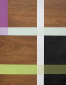 Bougainvillaea Night, 2002, oil enamel, varnish and sand on mahogany panel, 28 x 22 in