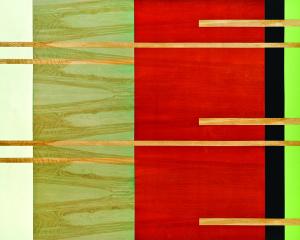 Scoot, 2007, oil enamel, vanish, and sand on birch panel, 48 x 60 in