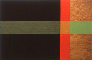 To, 2000, oil enamel, and sand on mahogany panel, 20 x 30 in