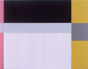 Olive Shift, 2001, oil, enamel, and sand on linen, 9 x 12 in