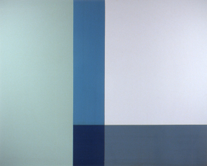 Dreaming of the Cool, 2001, oil enamel, and sand on canvas, 48 x 60 in