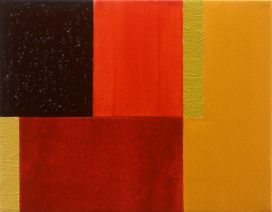 Hot Summer Tango, 1998, oil, enamel, and sand on canvas, 11 x 14 in
