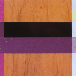 Maroon Merge, 2003, oil enamel, varnish and sand on wood panel, 9 x 12 in
