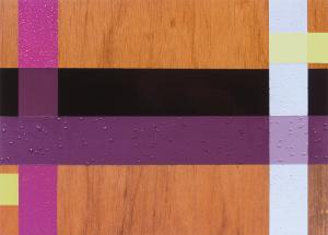 Maroon Merge, 2003, oil enamel, varnish and sand on wood panel, 9 x 12 in