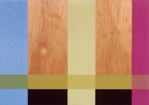 Torso, 2003, oil enamel, varnish and sand on wood panel, 9 x 12 in