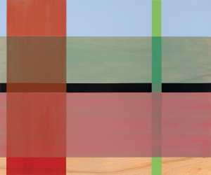 Rose Plaid, 2003-2011, oil enamel and varnish on birch panel, 40 x 48 in